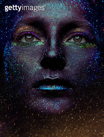 Face shot of Girl covered with colorful glitter - gettyimageskorea