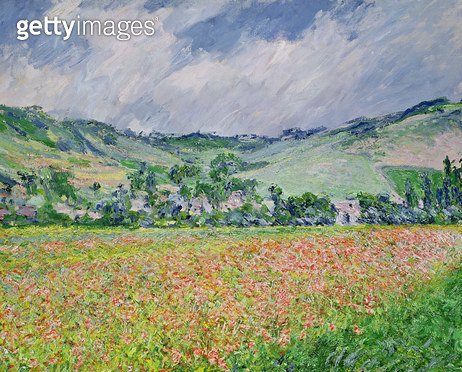 <b>Title</b> : The Poppy Field near Giverny, 1885 (oil on canvas)<br><b>Medium</b> : oil on canvas<br><b>Location</b> : Musee des Beaux-Arts, Rouen, France<br> - gettyimageskorea