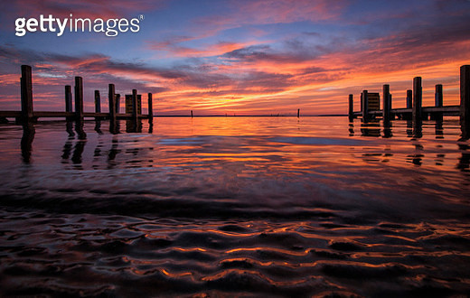 DNR West Higgins Lake Boat Launch August Sunrise - gettyimageskorea