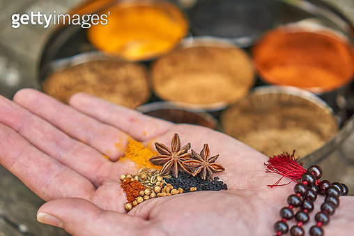 spices in an Indian spice jar - gettyimageskorea