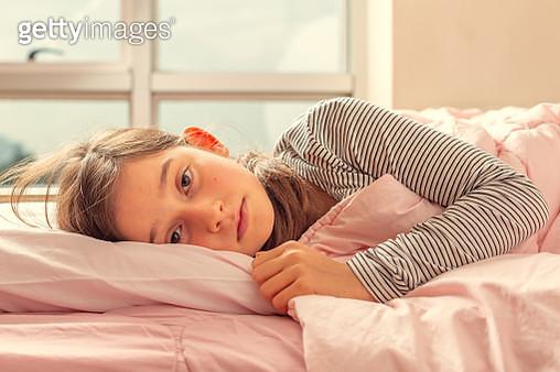 Little Girl sleeping in bed - gettyimageskorea
