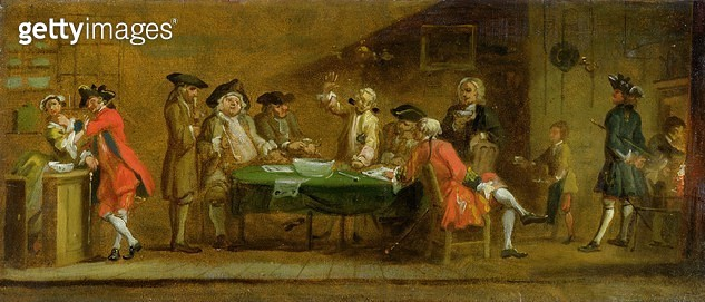 <b>Title</b> : Figures in a Tavern or Coffee House, 1720s (oil on panel)<br><b>Medium</b> : oil on panel<br><b>Location</b> : Yale Center for British Art, Paul Mellon Collection, USA<br> - gettyimageskorea
