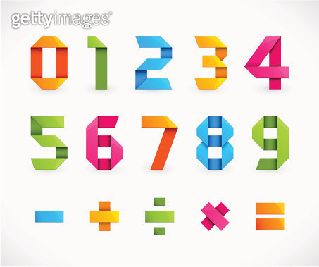 Set of Numbers in Origami Style - Vector Illustration. - gettyimageskorea