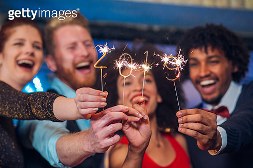 Two couples with sparklers - gettyimageskorea