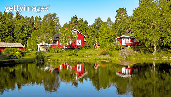Scenic reflections at Gla Forest Nature Reserve, Sweden, Scandinavia - gettyimageskorea