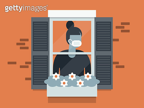 Illustration of quarantined young woman wearing face mask and looking out window - gettyimageskorea