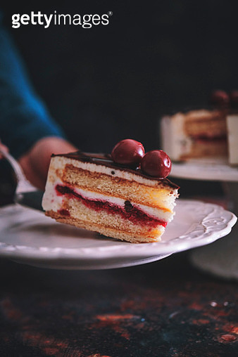 Cherry Chocolate Layer Cake with Whipped Cream - gettyimageskorea