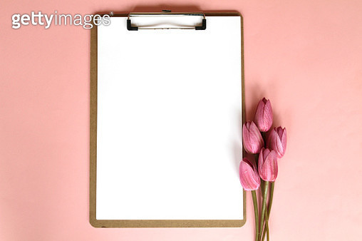 Clipboard And Pink Tulips - gettyimageskorea