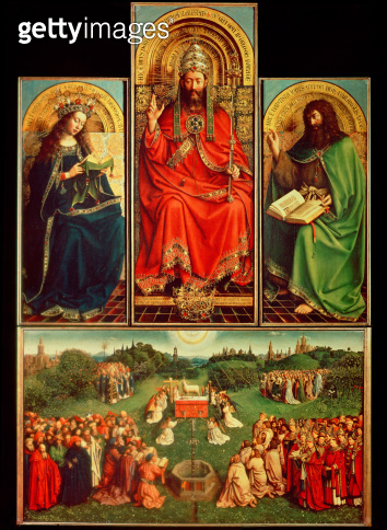 Ghent Altarpiece, Central Panel, 1432: Lord in Majesty between Virgin Mary and St. John the Baptist; below - Adoration of the Lamb<br>St. Bavo Cathedral, Ghent, Belgium - gettyimageskorea