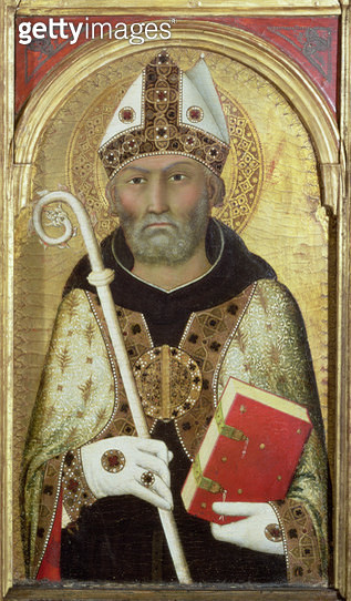 <b>Title</b> : St. Augustine, c.1319 (tempera with gold on panel) (detail of 58835)Additional Infopanel from a polyptych;<br><b>Medium</b> : tempera with gold on panel<br><b>Location</b> : Fitzwilliam Museum, University of Cambridge, UK<br> - gettyimageskorea