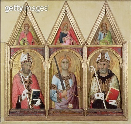 <b>Title</b> : St. Geminianus, St. Michael and St. Augustine, c.1319 (tempera with gold on panel) (details 58834 and 58836)Additional Infoeach<br><b>Medium</b> : <br><b>Location</b> : Fitzwilliam Museum, University of Cambridge, UK<br> - gettyimageskorea