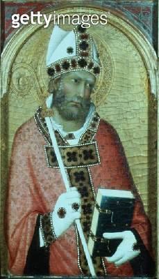 <b>Title</b> : St. Geminianus, c.1319 (tempera with gold on panel) (detail of 58835)Additional Infopanel from a polyptych;<br><b>Medium</b> : tempera with gold on panel<br><b>Location</b> : Fitzwilliam Museum, University of Cambridge, UK<br> - gettyimageskorea