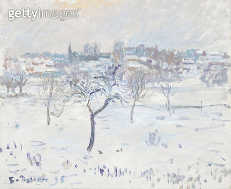 <b>Title</b> : Snowy Landscape at Eragny with an Apple Tree, 1895 (oil on canvas)Additional InfoEffects of Snow, Eragny;<br><b>Medium</b> : oil on canvas<br><b>Location</b> : Fitzwilliam Museum, University of Cambridge, UK<br> - gettyimageskorea