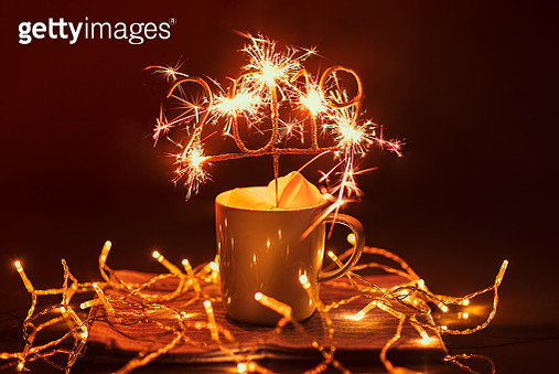 Cup with Igniting 2019 Sparkler - gettyimageskorea