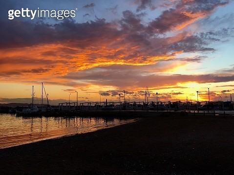 Sunset over the beach in Athens - gettyimageskorea