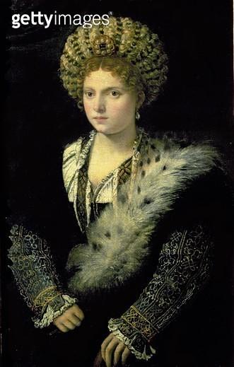 <b>Title</b> : Portrait of Isabella d'Este (1474-1539)<br><b>Medium</b> : oil on canvas<br><b>Location</b> : Kunsthistorisches Museum, Vienna, Austria<br> - gettyimageskorea