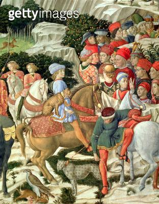 <b>Title</b> : Giuliano de' Medici (1453-78) as Melchior, detail from the Journey of the Magi cycle in the chapel, c.1460 (fresco)<br><b>Medium</b> : <br><b>Location</b> : Palazzo Medici-Riccardi, Florence, Italy<br> - gettyimageskorea