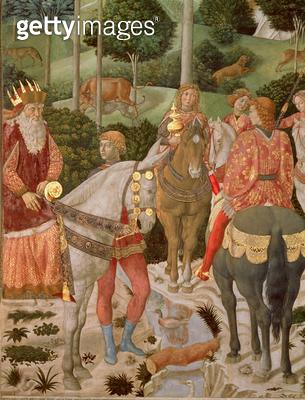 <b>Title</b> : Piero de Medici (1416-69) as Caspar, detail from The Procession of the Magi, c.1459-60 (fresco)<br><b>Medium</b> : <br><b>Location</b> : Palazzo Medici-Riccardi, Florence, Italy<br> - gettyimageskorea