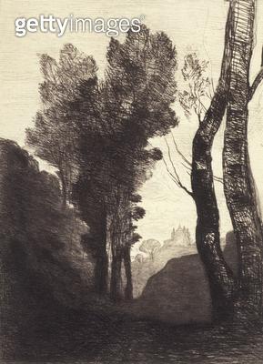 <b>Title</b> : Environs de Rome, 1866 (etching)<br><b>Medium</b> : etching<br><b>Location</b> : Fred Jones Jr. Museum of Art, University of Oklahoma, USA<br> - gettyimageskorea