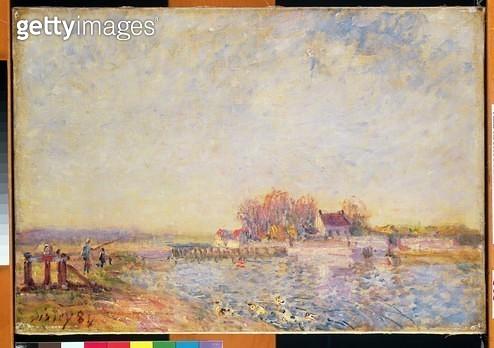 <b>Title</b> : River Scene with Ducks, 1881 (oil on canvas)<br><b>Medium</b> : oil on canvas<br><b>Location</b> : The Barnes Foundation, Merion, Pennsylvania, USA<br> - gettyimageskorea