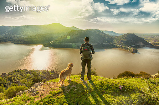 trekking with the dog on mountains - gettyimageskorea