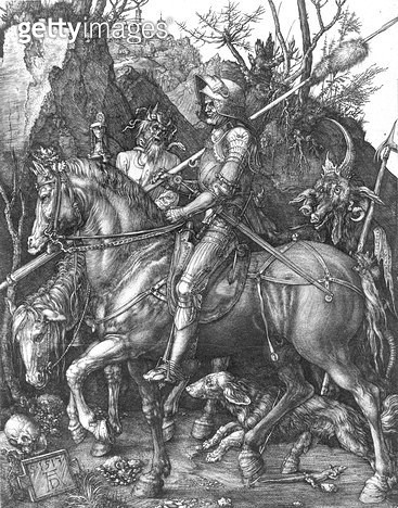 <b>Title</b> : The Knight, Death and the Devil, 1513 (engraving) (b/w photo)<br><b>Medium</b> : engraving<br><b>Location</b> : Musee de la Ville de Paris, Musee du Petit-Palais, France<br> - gettyimageskorea