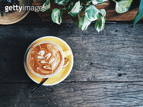 High Angle View Of Cappuccino On Table - gettyimageskorea