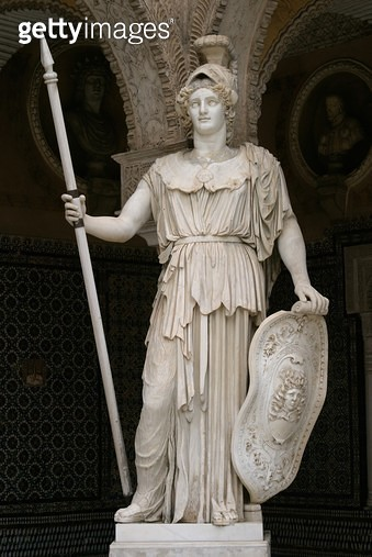 <b>Title</b> : Statue of Athena (marble)<br><b>Medium</b> : <br><b>Location</b> : Casa de Pilatos, Seville<br> - gettyimageskorea