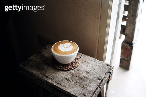 High Angle View Of Cappuccino On Wooden Table - gettyimageskorea