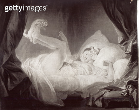 <b>Title</b> : La Gimblette or Young Girl Making her Dog Dance on her Bed (oil on canvas) (b/w photo)Additional InfoJeune fille couchee sur le<br><b>Medium</b> : oil on canvas<br><b>Location</b> : Private Collection<br> - gettyimageskorea