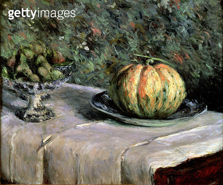 <b>Title</b> : Melon and Fruit Bowl with Figs, 1880-82 (oil on canvas)Additional InfoMelon et compotier de figues;<br><b>Medium</b> : <br><b>Location</b> : Private Collection<br> - gettyimageskorea