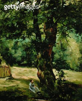 <b>Title</b> : Woman Seated Beneath a Tree (oil on canvas)Additional InfoFemme assise sous un arbre;<br><b>Medium</b> : oil on canvas<br><b>Location</b> : Private Collection<br> - gettyimageskorea