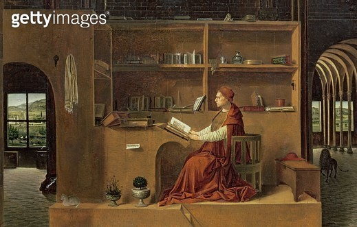<b>Title</b> : St. Jerome in his study, c.1475 (oil on panel) (detail of 29420)<br><b>Medium</b> : oil on panel<br><b>Location</b> : National Gallery, London, UK<br> - gettyimageskorea
