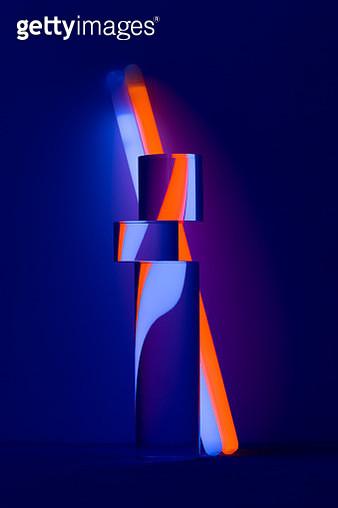 Distorted Refraction of Illuminated Glow Sticks - gettyimageskorea