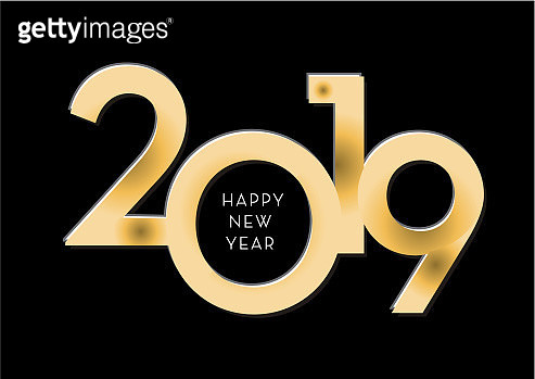 Happy New Year 2019 greeting card banner design in gold and glitter with text - gettyimageskorea