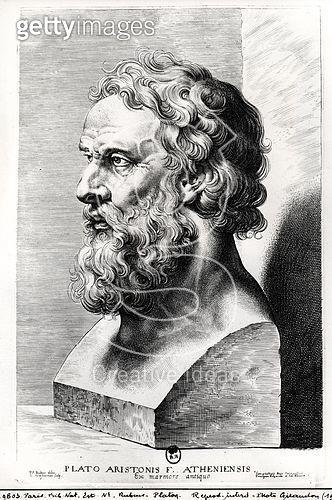 <b>Title</b> : Bust of Plato (c.427-c.348 BC) engraved by Lucas Emil Vorsterman (1595-1675) (engraving) (b/w photo)<br><b>Medium</b> : engraving<br><b>Location</b> : Bibliotheque Nationale, Paris, France<br> - gettyimageskorea