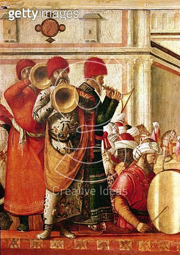 <b>Title</b> : St. George Baptising the Gentiles, detail of musicians on the left hand side, 1501-07 (oil on canvas)<br><b>Medium</b> : oil on canvas<br><b>Location</b> : Scuola di San Giorgio degli Schiavoni, Venice, Italy<br> - gettyimageskorea