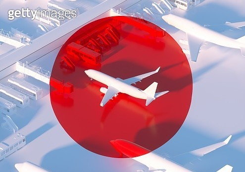 Digital generated image of red circle around white plane projected to standing and locked planes visualizing Travel Ban idea. - gettyimageskorea