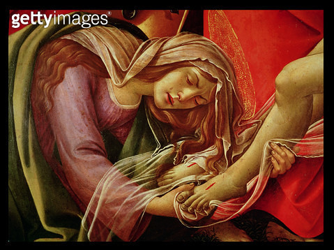 <b>Title</b> : The Lamentation of Christ, detail of Mary Magdalene and the Feet of Christ, c.1490 (oil on panel)<br><b>Medium</b> : oil on panel<br><b>Location</b> : Alte Pinakothek, Munich, Germany<br> - gettyimageskorea