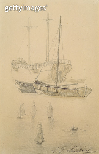 <b>Title</b> : Ships (pencil on paper)<br><b>Medium</b> : pencil on paper<br><b>Location</b> : Hamburger Kunsthalle, Hamburg, Germany<br> - gettyimageskorea