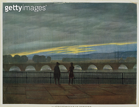 <b>Title</b> : August Bridge in Dresden (colour lithograph)<br><b>Medium</b> : colour lithograph<br><b>Location</b> : Hamburger Kunsthalle, Hamburg, Germany<br> - gettyimageskorea