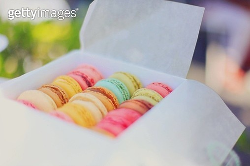 High Angle View Of Macaroons In Box - gettyimageskorea