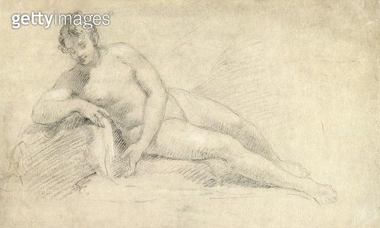 <b>Title</b> : Study of a Female Nude (pencil and chalk on paper)<br><b>Medium</b> : pencil and chalk on paper<br><b>Location</b> : Yale Center for British Art, Paul Mellon Collection, USA<br> - gettyimageskorea