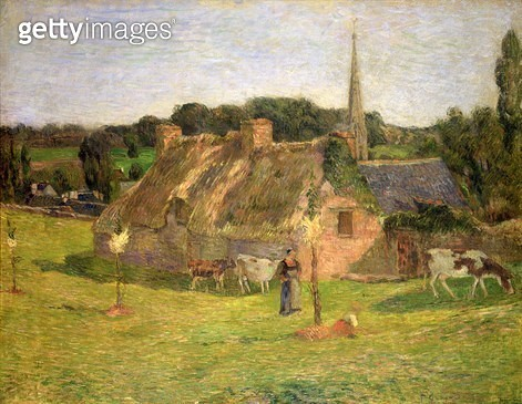 <b>Title</b> : Lollichon's Field and the Church of Pont-Aven, 1886 (oil on canvas)Additional InfoLe Champ Lollichon et L'Eglise de Pont-Aven;<br><b>Medium</b> : oil on canvas<br><b>Location</b> : Private Collection<br> - gettyimageskorea