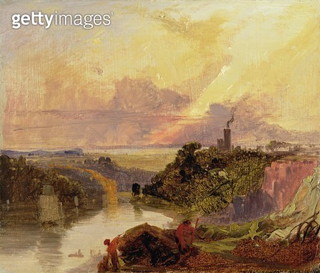 <b>Title</b> : The Avon Gorge at Sunset (oil on paper)<br><b>Medium</b> : oil on paper<br><b>Location</b> : Yale Center for British Art, Paul Mellon Collection, USA<br> - gettyimageskorea