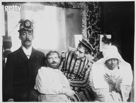 <b>Title</b> : Portrait of Paul Gauguin (1848-1903) Alphonse Mucha (1860-1939) Ludek Marold (1865-98) and Annah la Javanaise (b.1880) c.1895 (b<br><b>Medium</b> : <br><b>Location</b> : Mucha Trust<br> - gettyimageskorea
