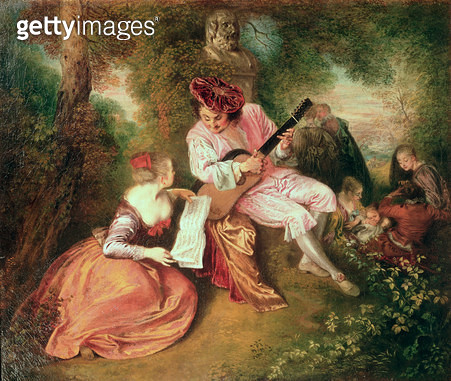 <b>Title</b> : The Scale of Love, 1715-18 (oil on canvas)<br><b>Medium</b> : oil on canvas<br><b>Location</b> : National Gallery, London, UK<br> - gettyimageskorea
