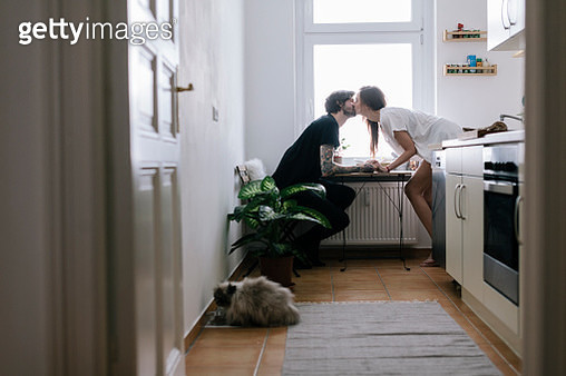 Morning romance in the kitchen - gettyimageskorea