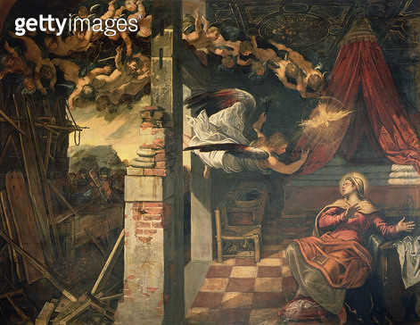 <b>Title</b> : The Annunciation<br><b>Medium</b> : <br><b>Location</b> : Scuola Grande di San Rocco, Venice, Italy<br> - gettyimageskorea