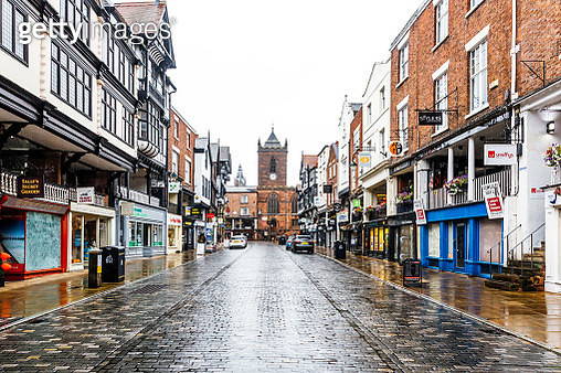 Street in historical old town of Chester, England, UK - gettyimageskorea